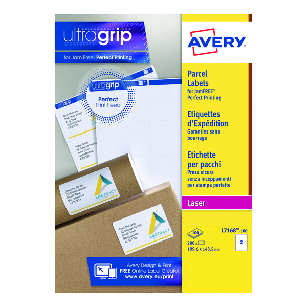 Avery Ultragrip Laser Labels 199.6x143.5mm Wht (Pack of 200) L7168-100