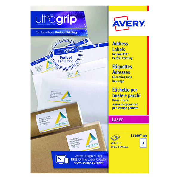 Avery Ultragrip Laser Labels 139x99.1mm White (Pack of 400) L7169-100