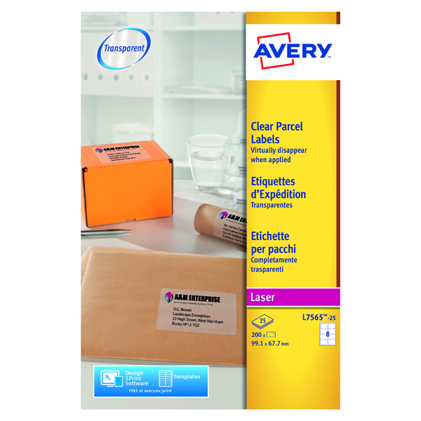 Avery Laser Label 99.1x67.7mm 8 Per Sheet Clear (Pack of 200) L7565-25