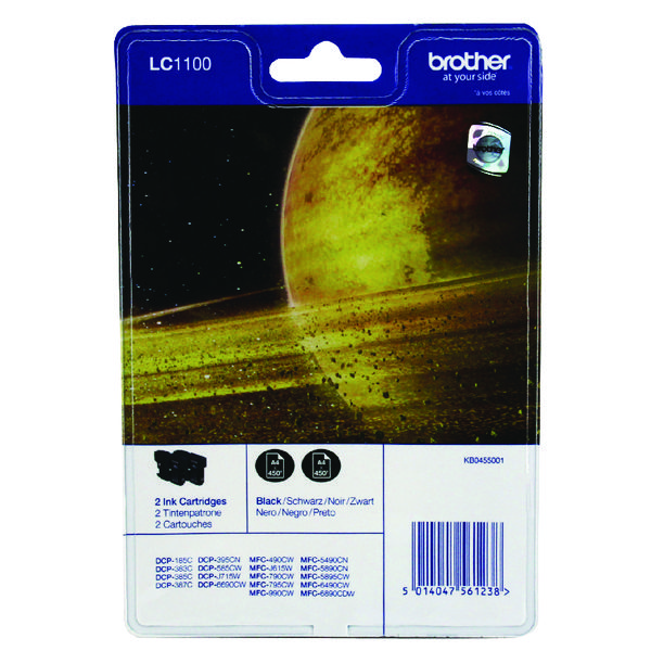 Brother LC-1100 Black Inkjet Cartridge (Pack of 2) LC1100BKBP2