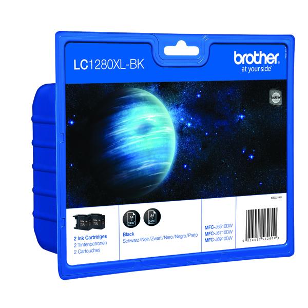 Brother LC-1280XL High Yield Black Inkjet Cartridge (Pack of 2) LC1280XLBKBP2