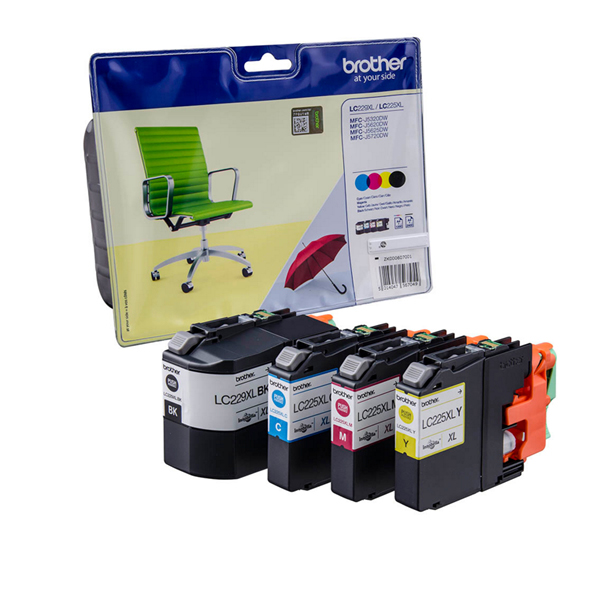 Brother LC225XL/LC229XL Cyan/Magenta/Yellow/Black Inkjet Cartridges (Pack of 4) LC229XLVALBP