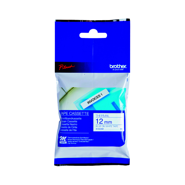 Brother P-Touch Labelling Tape 12mm x 8m Blue on White Blister MK233BZ