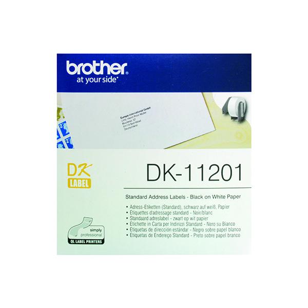 Brother Black on White Paper Standard Address Labels (Pack of 400) DK11201