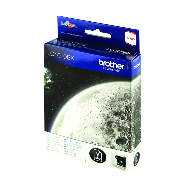 Brother LC1000BK Black Inkjet Cartridge (500 page capacity) LC-1000BK