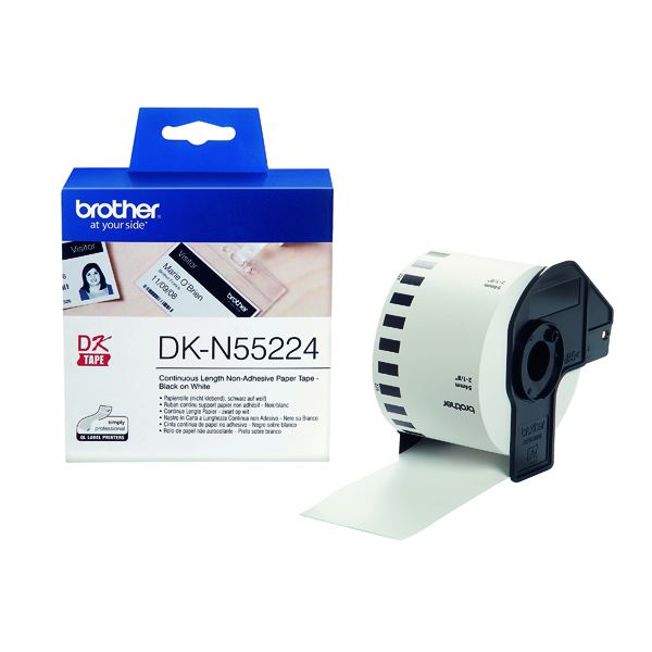 Brother Continuous Non-Adhesive Paper Roll Black on White 54mm DKN55224