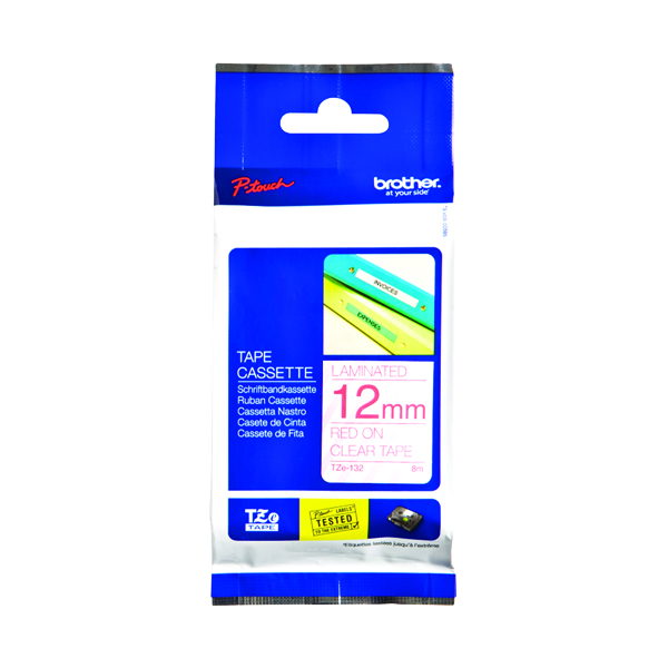 Brother P-Touch 12mm Red On Clear Labelling Tape TZE132