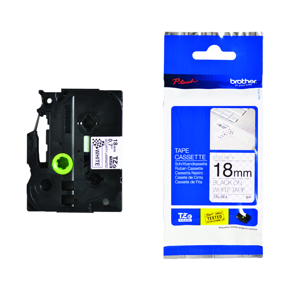 Brother TZe P-touch Security Label Tape 18mmx8m Black on White TZESE4