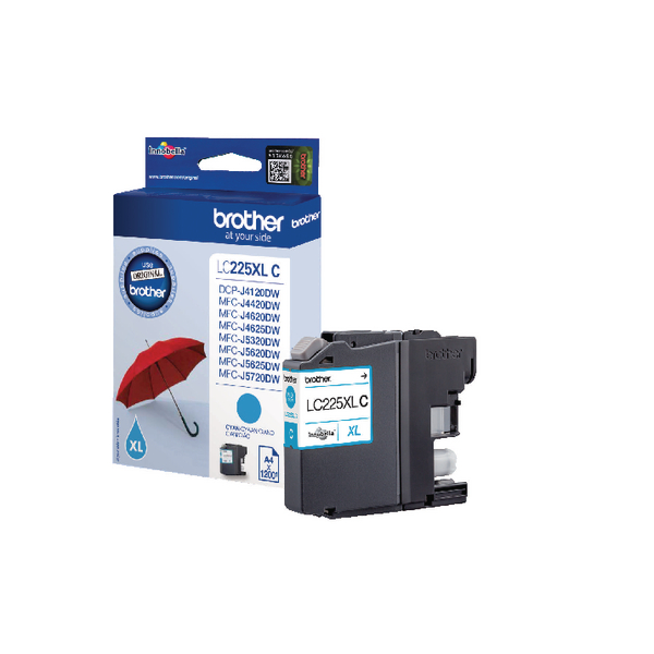 Brother LC225XLC High Yield Cyan Inkjet Cartridge LC-225XLC