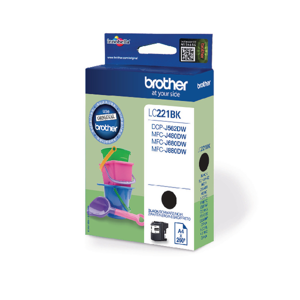 Brother Standard Yield Black Ink Cartridge LC221BK