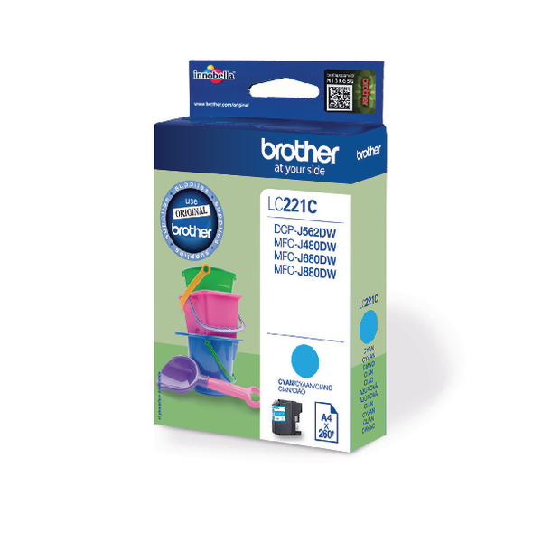 Brother Standard Yield Cyan Ink Cartridge (Capacity: 260 pages) LC221C