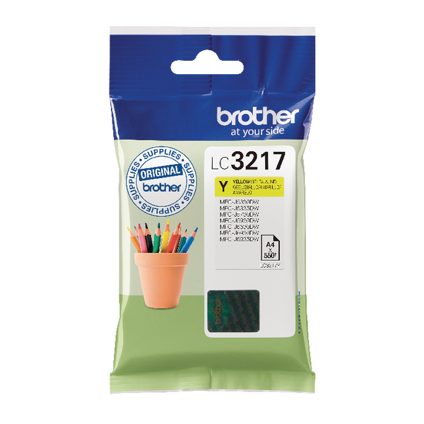 Brother Yellow Standard Yield Inkjet Cartridge LC3217Y