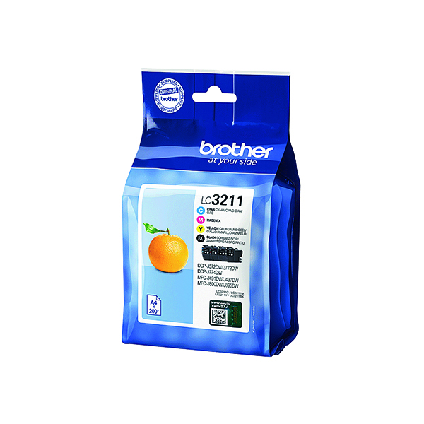 Brother LC3211 CMYK Ink Cartridge Value Pack LC3211VAL
