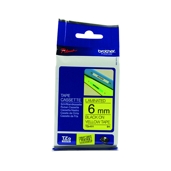 Brother P-Touch 6mm Black on Yellow TZE611 Labelling Tape TZE611