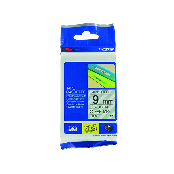 Brother P-Touch 9mm Black on Clear TZE121 Labelling Tape TZE121