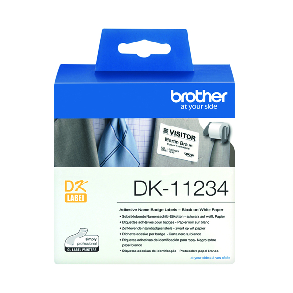 Brother Name Badge Labels 60 x 86mm 260 Labels Per Roll White DK-11234