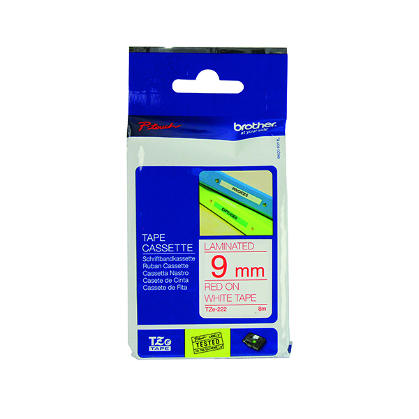 Brother P-Touch 9mm Red on White TZE222 Labelling Tape TZE222
