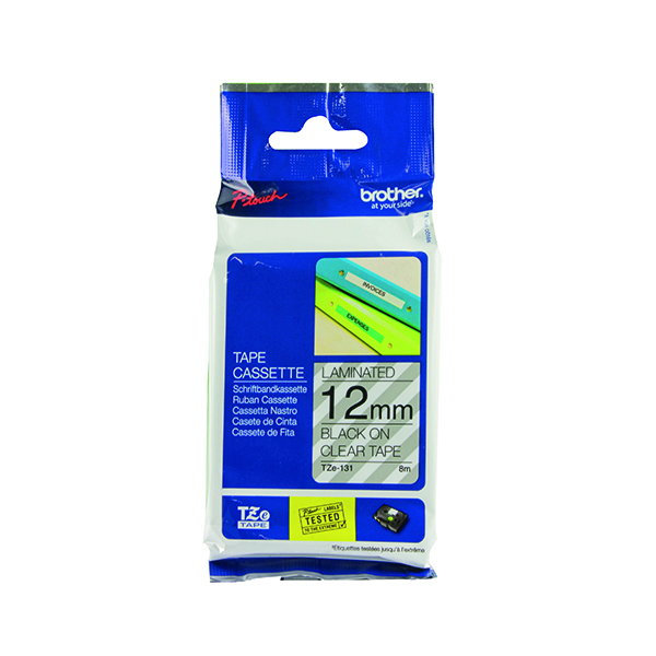 Brother P-Touch 12mm Black on Clear TZE131 Labelling Tape TZE131