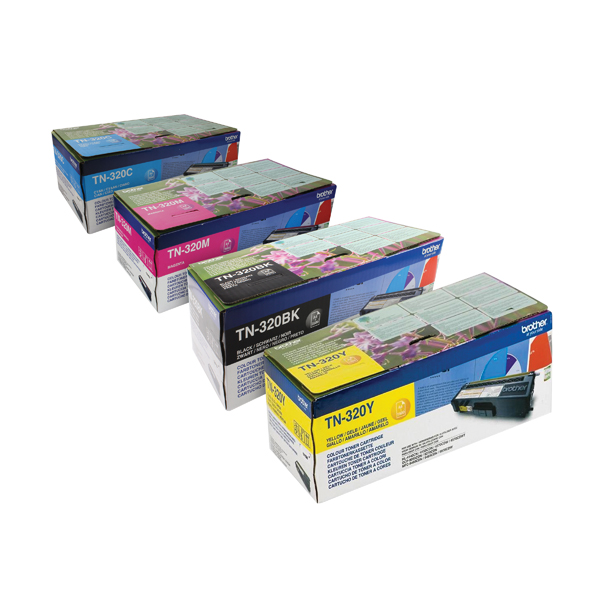 Brother TN320 Toner Cartridge Bundle Cyan/Magenta/Yellow/Black (Pack of 4)
