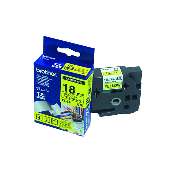 Brother P-Touch 18mm Black on Yellow TZE641 Labelling Tape TZE641