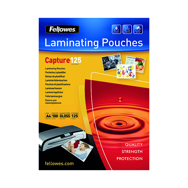 Fellowes A4 Capture Laminating Pouch 250 Micron (Pack of 100) 55307401