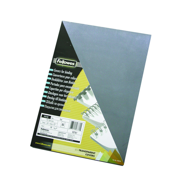 Image for Fellowes Transpsarent Plastic Covers 150 Micron (Pack of 100) 5376001