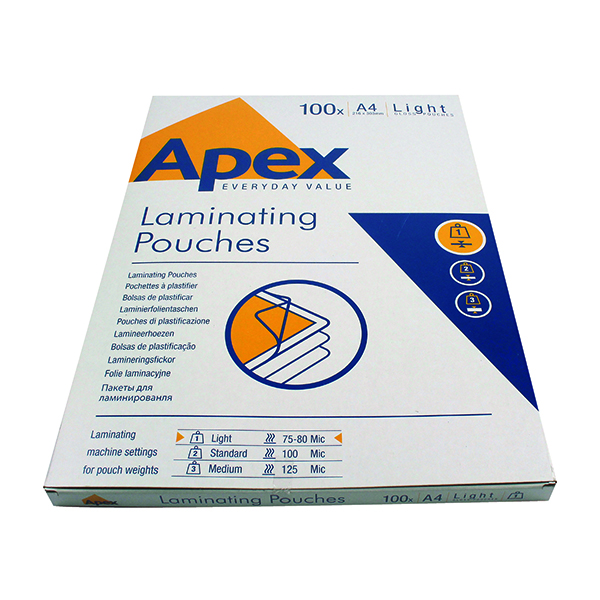 Fellowes Apex A4 Light Laminating Pouches Clear (Pack of 100) 6003201