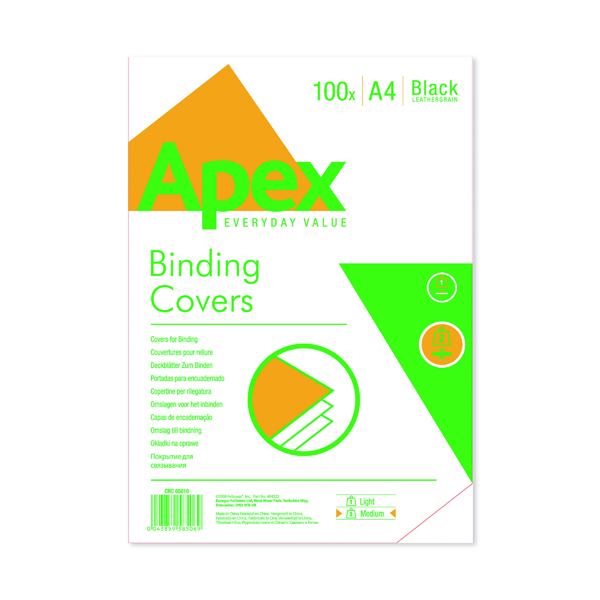 Fellowes Apex A4 Leatherboard Covers Black (Pack of 100) 6501001