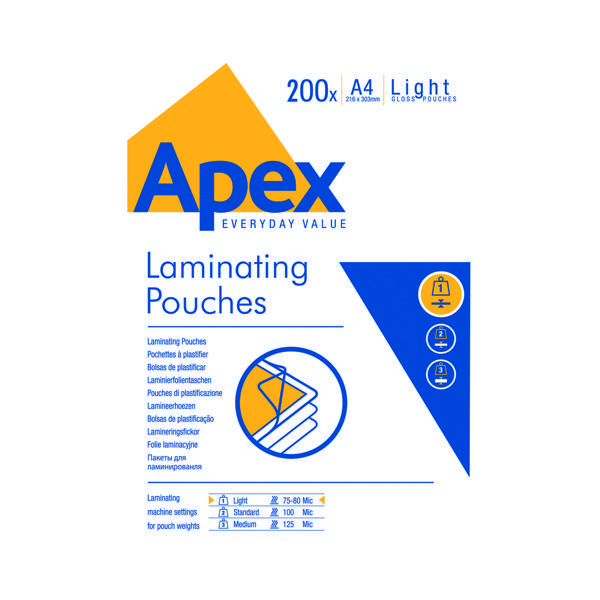 Fellowes Apex A4 Light Duty Laminating Pouch (Pack of 200) 6005301
