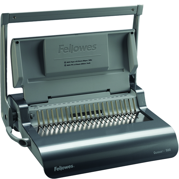 Image for Fellowes Grey Quasar+ 500 Manual Comb Binding Machine 5627701