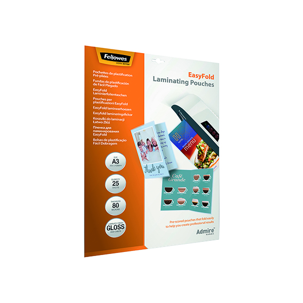 Fellowes Admire EasyFold A3 Laminating Pouches (Pack of 25) 5602001