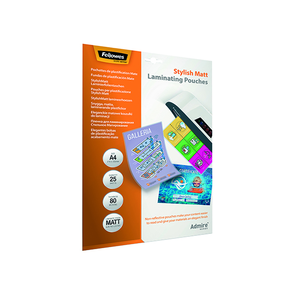 Fellowes Admire A4 Laminating Pouches Matte (Pack of 25) 5602101