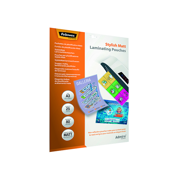 Fellowes Admire A3 Laminating Pouches Matte (Pack of 25) 5602201