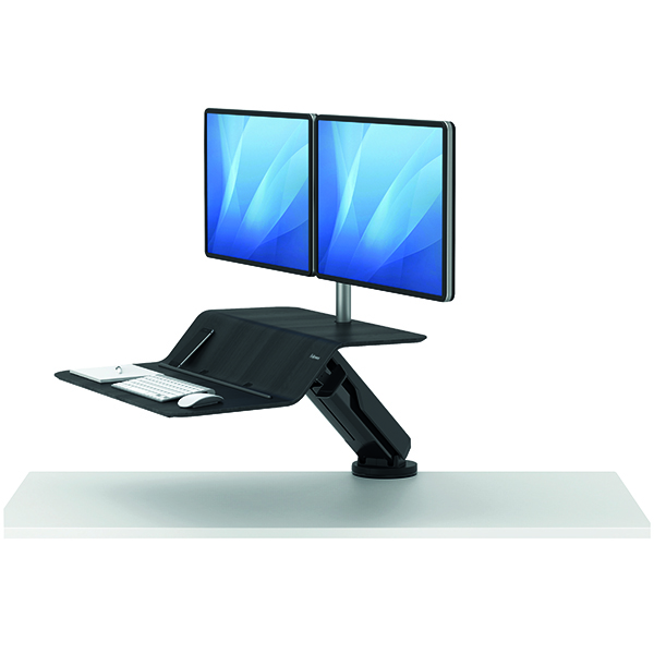 Fellowes Lotus Sit Stand Work Station Dual Screen Black 8081601