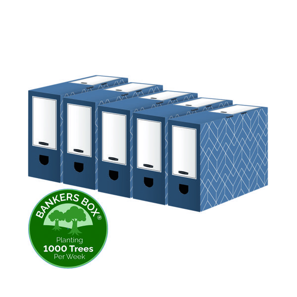 Bankers Box Decor 100mm Transfer File Blue (Pack of 5) 4483801