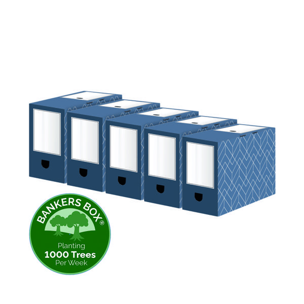 Bankers Box Decor 150mm Transfer File Blue (Pack of 5) 4483901