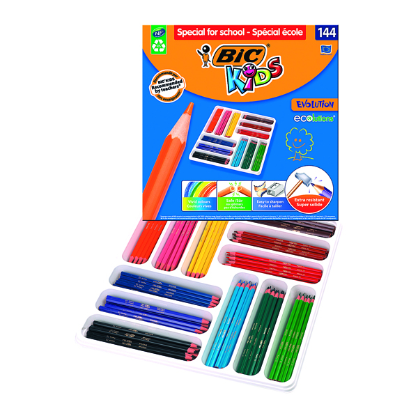 Bic Kids Evolution Ecolutions Pencils Assorted (Pack of 144) 887830