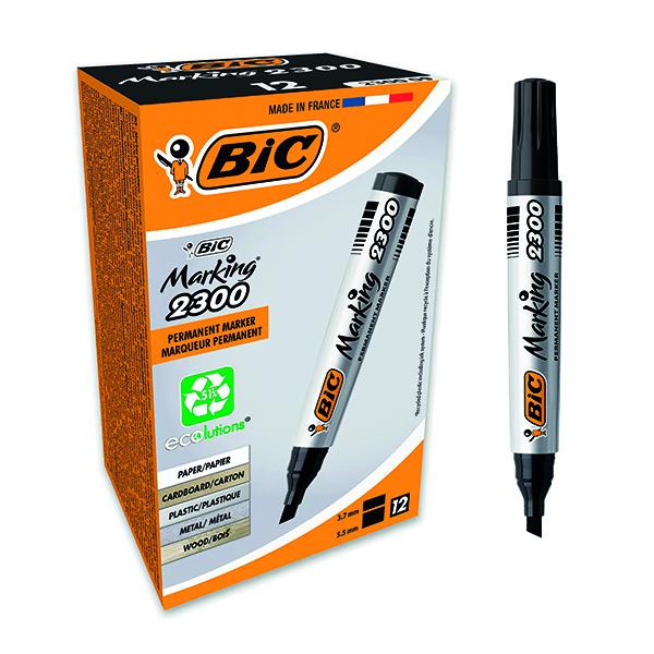 Bic 2300 Permanent Marker Chisel Tip Black (Pack of 12) 820926