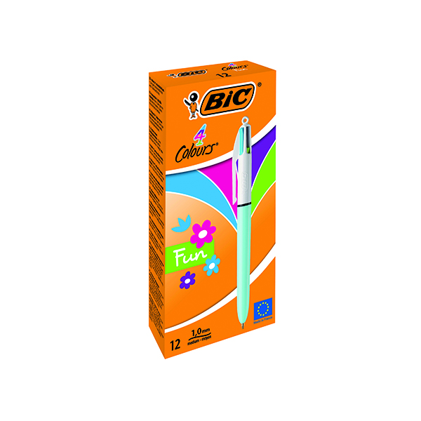 Bic 4 Colours Fun Retractable Ballpoint Pen (Pack of 12) 887777