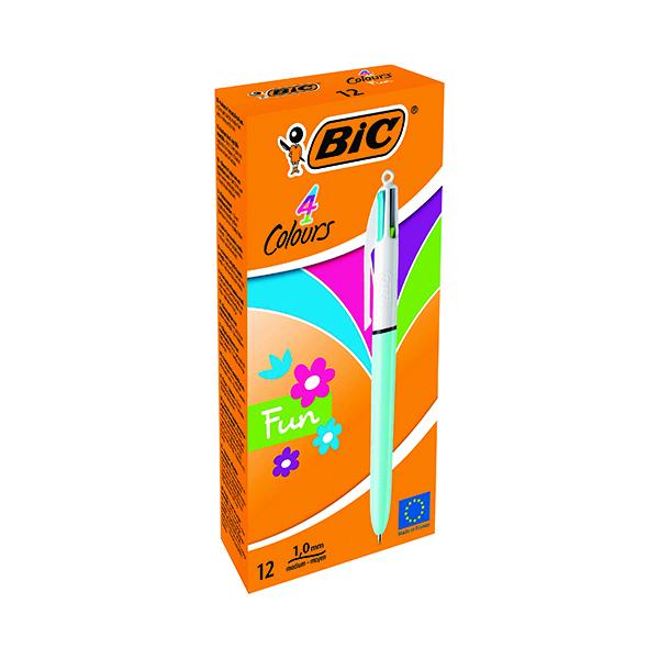 Bic 4 Colours Fun Retractable Ballpoint Pen (Pack of 12) 887777