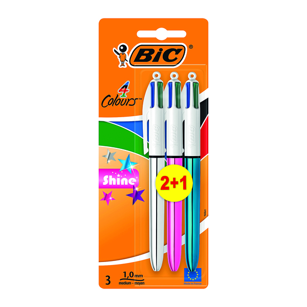Bic 4 Colours Shine Blister 2+1 (Pack of 20) 902127