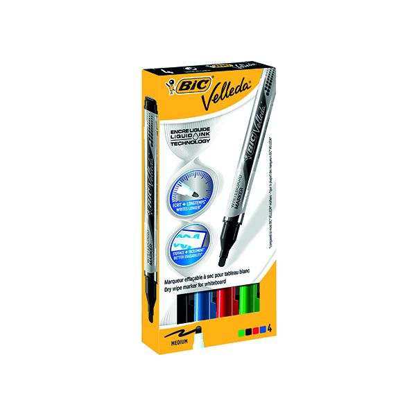 Bic Velleda Liquid Ink Drywipe Marker Assorted (Pack of 4) 902094