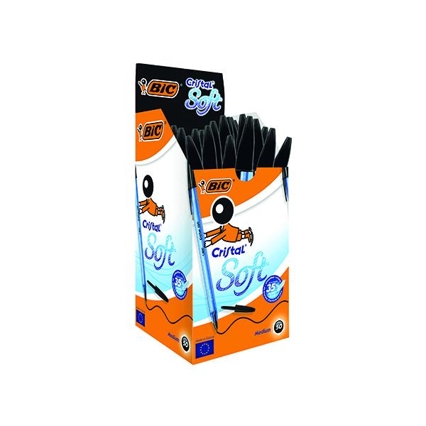 Bic Cristal Soft Ballpoint Pen Medium Black (Pack of 50) 918518