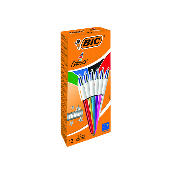 Bic 4 Colours Ballpoint Pens Medium Point Assorted (Pack of 12) 964775