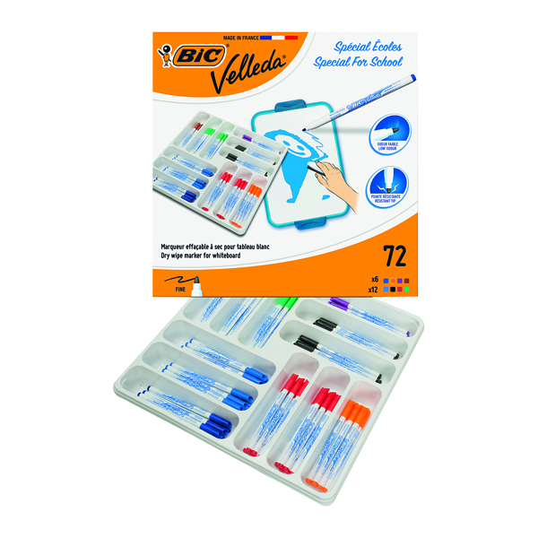 Bic Velleda 1721 Drywipe Marker Fine Tip Assorted (Pack of 72) 875790