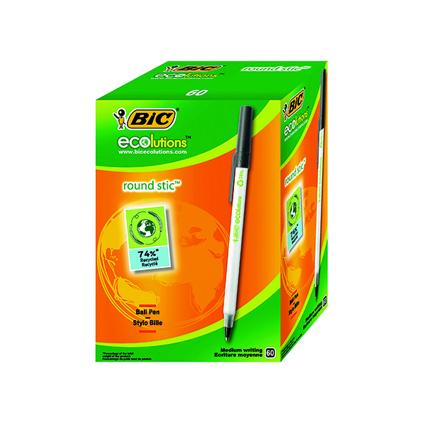 Bic ECOlutions Ballpoint Pen Medium Black (Pack of 60) 893239
