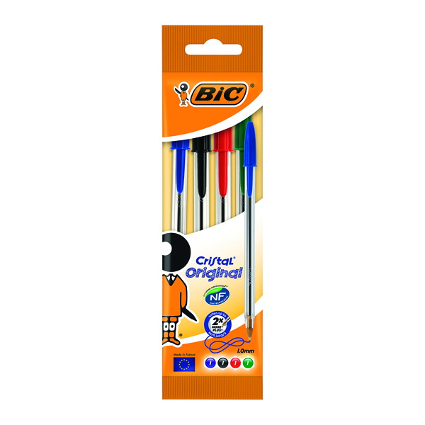 Bic Cristal Ballpoint Pen Medium Assorted (Pack of 4) 8308621