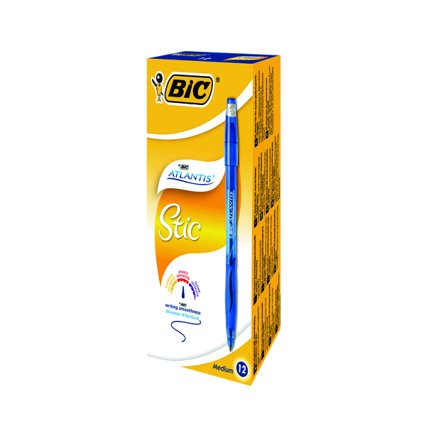 Bic Atlantis Stic Ballpoint Pen Medium Blue (Pack of 12) 837387