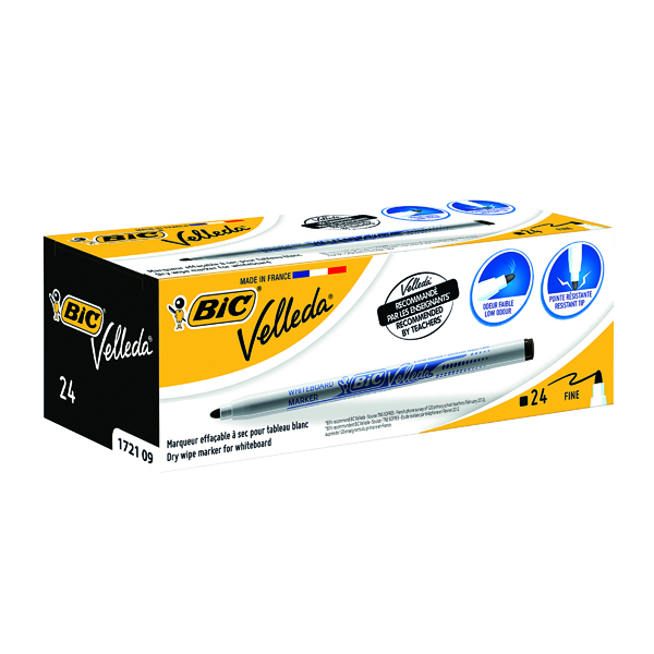 Bic Velleda 1721 Whiteboard Marker Fine Black (Pack of 24) 841842