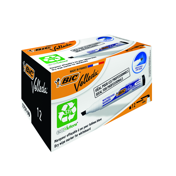 Bic Velleda 1751 Drywipe Marker Black (Pack of 12) 1199175109